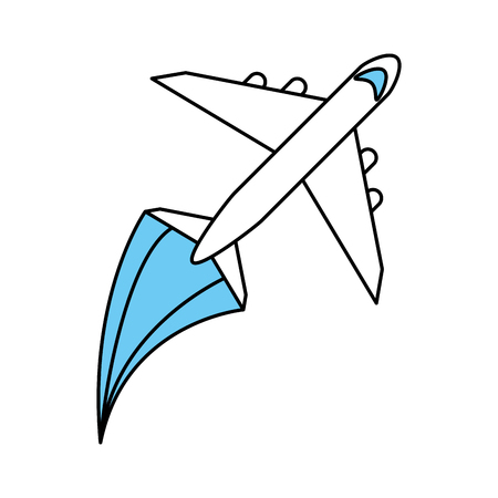 Flat line monocromatic airplane over white background vector illustration