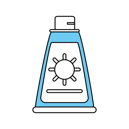 Flat line monocromatic sunscreen over white background vector illustration