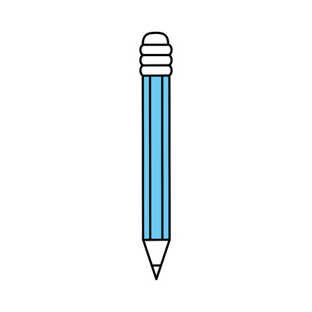 Flat line monocromatic pencil over white background vector illustration Illustration