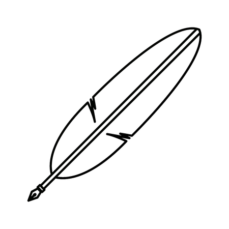 poet: pen in the form of the bird feather vector illustration
