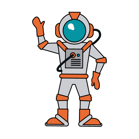 floating: astronaut hand up icon image vector illustration design