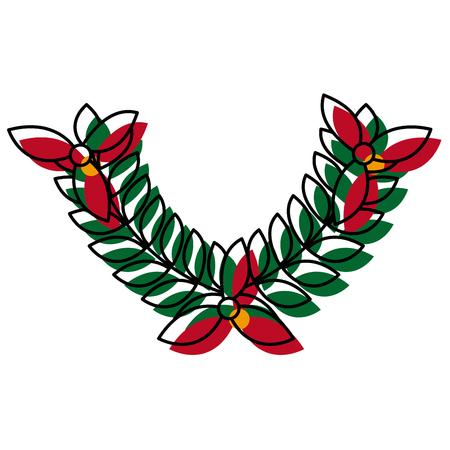 wreath laurel flower sport decoration winner symbol vector illustration