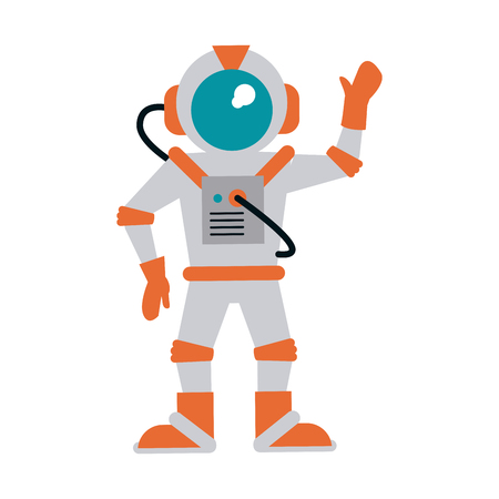 astronaut hand up icon image vector illustration design