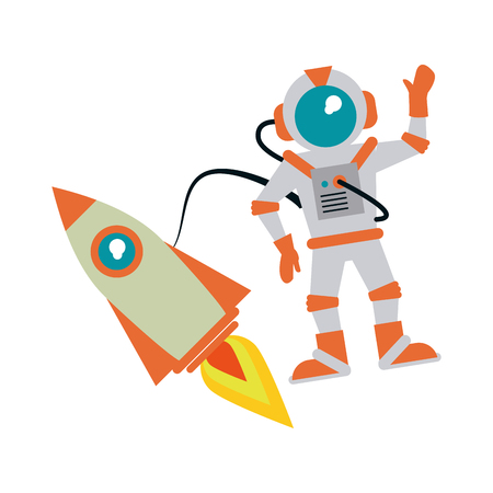 astronaut hand up with rocket  icon image vector illustration design Illustration