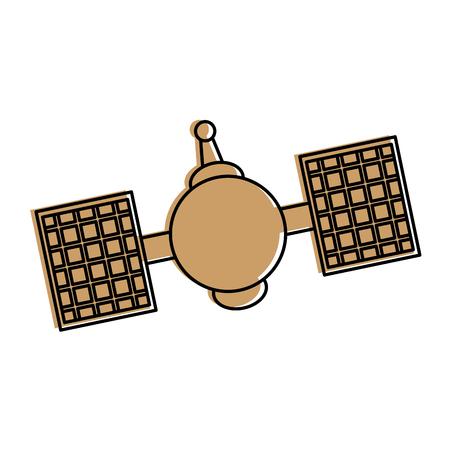 satellite telecommunications icon image vector illustration design  beige color