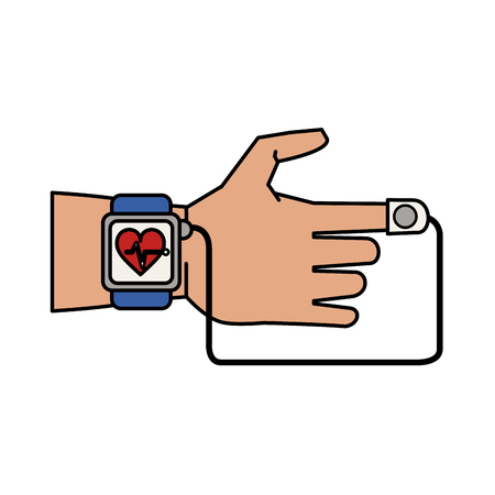heart monitor: heart rate wrist monitor with finger attachment healthcare related icon image vector illustration design
