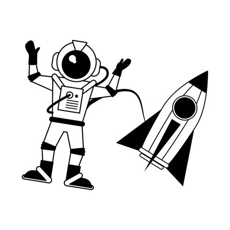 astronaut hand up with rocket  icon image vector illustration design  black and white