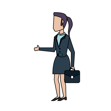 business woman carrying briefcase avatar icon image vector illustration design