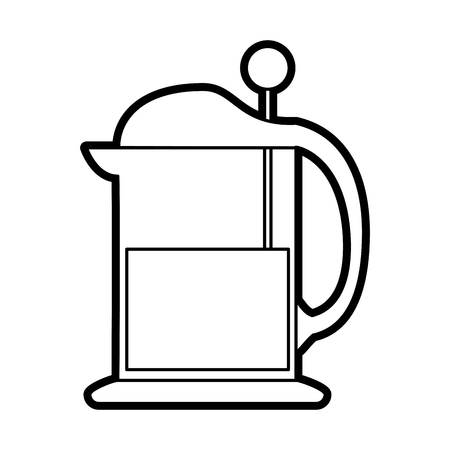 french press coffee related icon image vector illustration design black line