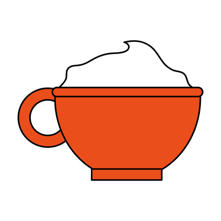 beverage with foam in cup or mug coffee related icon image vector illustration design one color
