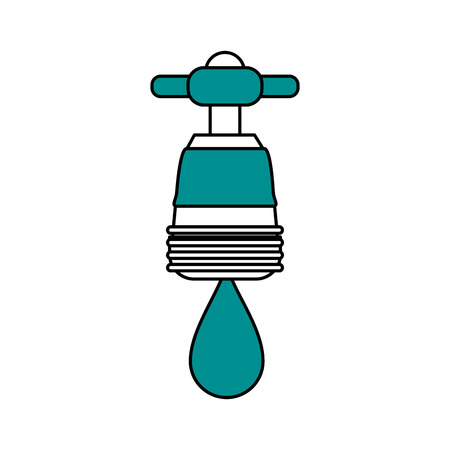 trickle: faucet with water drop frontview icon image vector illustration design one color