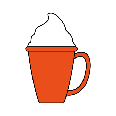beverage with foam in cup or mug coffee related icon image vector illustration design