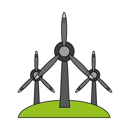 wind turbines renewable energy source icon image vector illustration design