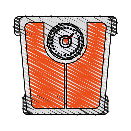 weight scale icon image vector illustration design sketch style Illustration