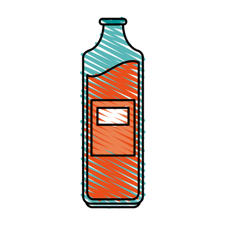 orange juice bottle with blank laber icon image vector illustration design sketch style