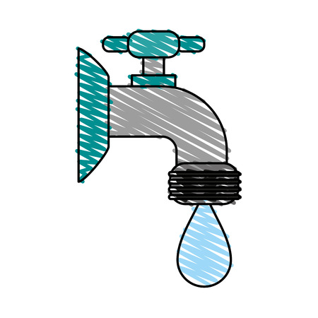 ooze: faucet sideview icon image vector illustration design sketch style Illustration