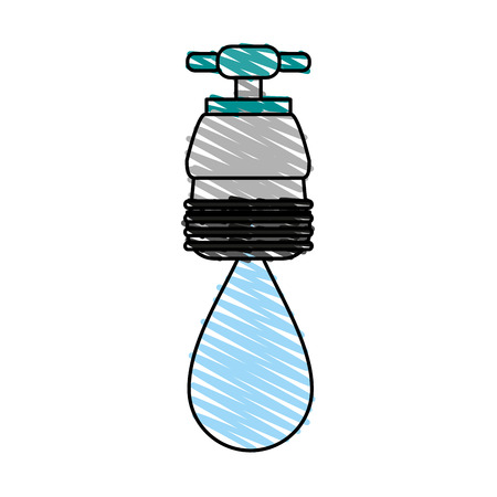 faucet with water drop frontview icon image vector illustration design sketch style