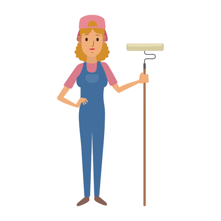 woman painter in uniform holding paint roller in hands standing vector illustration