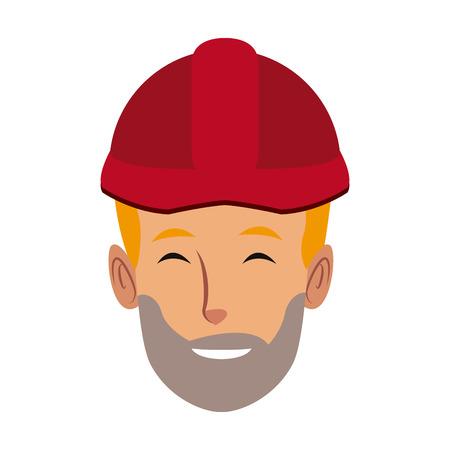 man construction worker labor force contractor occupation job vector illustration Illustration