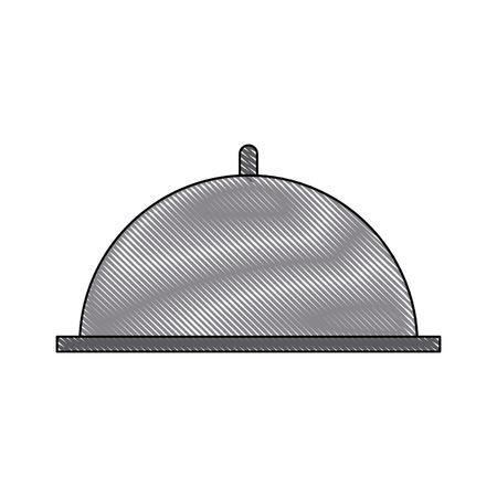 Restaurant Cloche Serviertablett Abdeckung Kuppel Vektor-Illustration Standard-Bild - 83216791