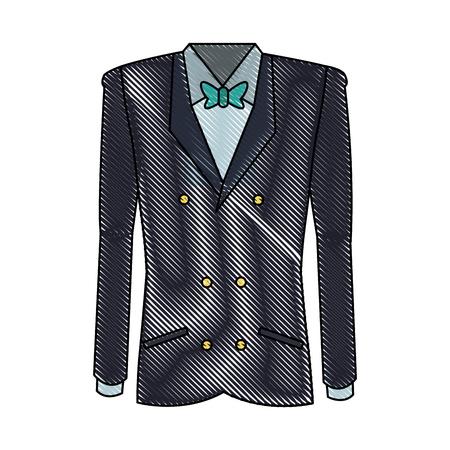 tuxedo with bow tie elegant fashion suit vector illustration
