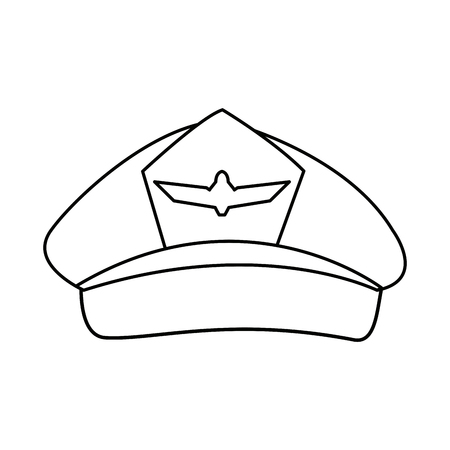 airline pilots hat aviator cap with insignia vector illustration