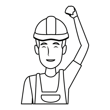man construction worker labor force contractor occupation job vector illustration Ilustrace