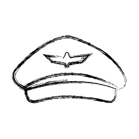 commander: airline pilots hat aviator cap with insignia vector illustration