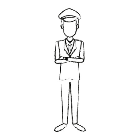commercial airlines pilot in uniform crossed arms vector illustration