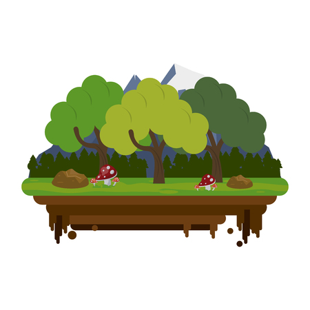 wilderness area: forest with mountains in the background on flotating piece of land icon image vector illustration design