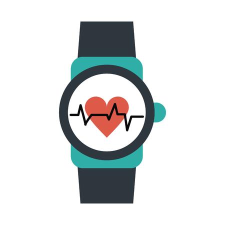 metrics: heart rate wrist monitor icon image vector illustration design Illustration