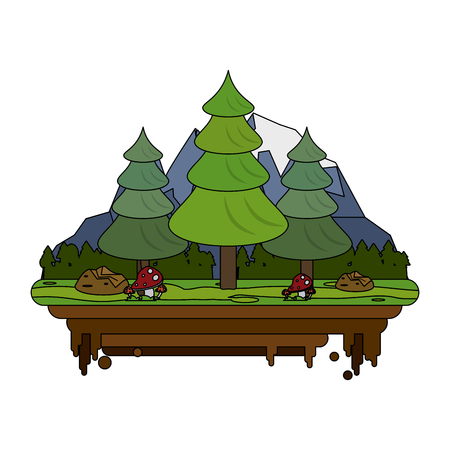forest with mountains in the background on flotating piece of land icon image vector illustration design