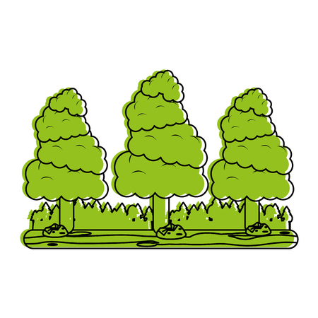wilderness area: forest landscape icon image vector illustration design  green color
