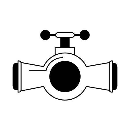 valve and handle with pipe icon image vector illustration design  black and white Ilustração
