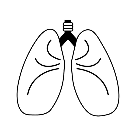 lungs cartoon icon image vector illustration design  black and white