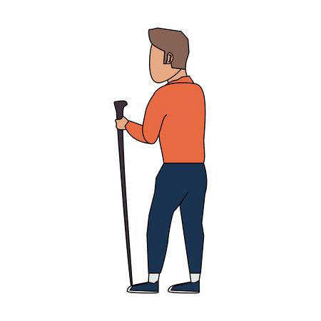 male tourist hiking icon image vector illustration design Illustration