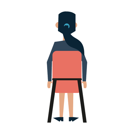 rearview: Business woman sitting down rearview avatar icon image vector illustration design