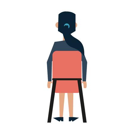 Mujer de negocios sentada retrovisor icono de avatar ilustración vectorial diseño de ilustración