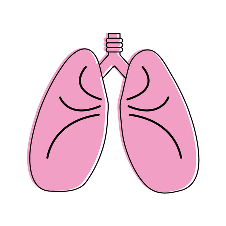 lungs cartoon icon image vector illustration design  pink color Illustration