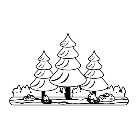 wilderness area: forest landscape icon image vector illustration design  black and white
