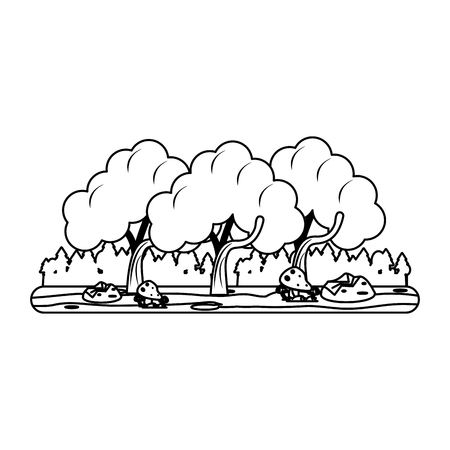 forest landscape icon image vector illustration design  black and white