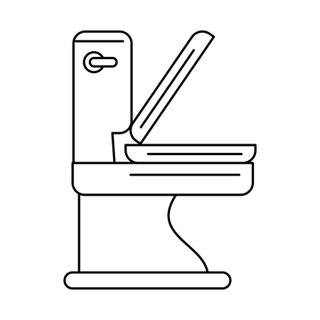 modern bathroom: toilet bathware item icon image vector illustration design  black and white