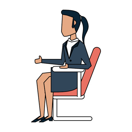 Business woman sitting down sideview avatar icon image vector illustration design