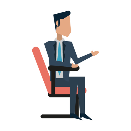 businessman sitting down avatar icon image vector illustration design