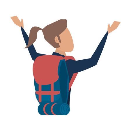 female tourist with backpack avatar icon image vector illustration design Illustration