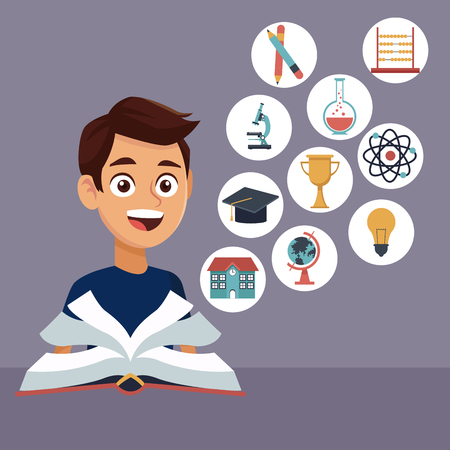 abaco: color background with boy student with book in learning with elements school icons floating vector illustration Vectores