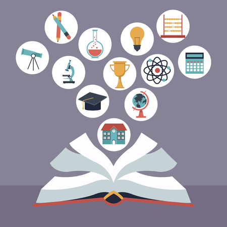 color background with open book with elements school icons floating vector illustration