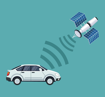 color background of car vehicle with satellite search vector illustration
