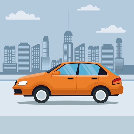 blue silhouette city landscape background of classic car in the street vector illustration