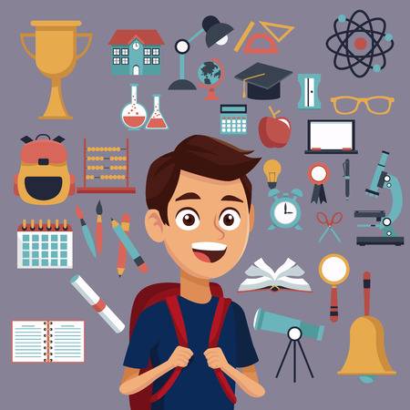 compas de dibujo: color background with set school elements and student with bag vector illustration